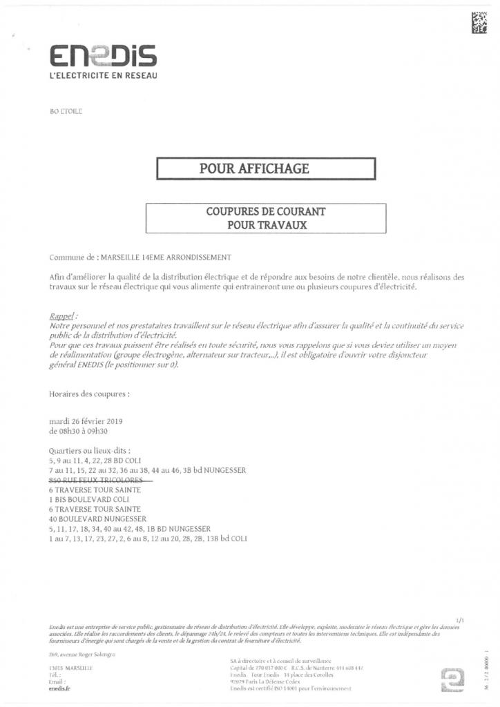 coupure de courant 26 février 2019 Mairie 13 14 Marseille